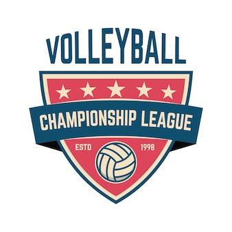Modelo de emblema com bola de vôlei. elemento de design para logotipo, etiqueta, sinal.