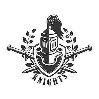 Modelo de emblema com capacete de cavaleiro medieval. elemento para o logotipo, etiqueta, sinal. ilustração