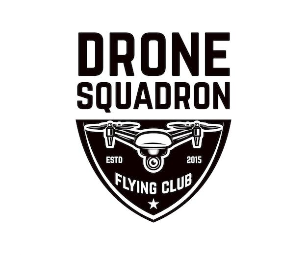 Modelo de emblema com drone voador. elemento para logotipo, etiqueta,. ilustração