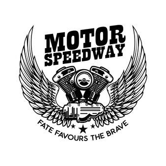 Modelo de emblema com motor de motocicleta alado.