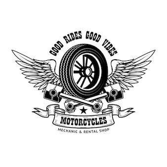 Modelo de emblema com roda alada e pistões
