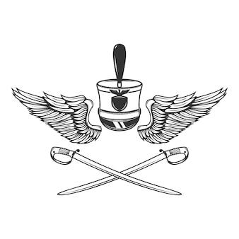 Modelo de emblema com sabres, asas, chapéu de hussardo.