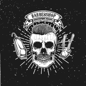 Modelo de emblema de barbearia. crânio de hipster com bigode. elemento para cartaz, cartão, banner. ilustração