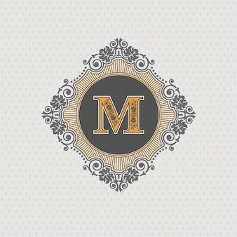 Modelo de emblema de carta m, elementos de design de monograma, modelo caligráfico gracioso,