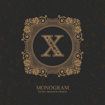 Modelo de emblema de carta x, elementos de design de monograma, modelo caligráfico gracioso,