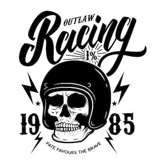 Modelo de emblema de corrida fora da lei com crânio de motociclista