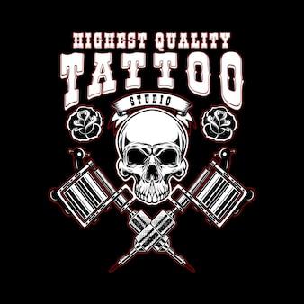 Modelo de emblema de estúdio de tatuagem. máquina de tatuagem cruzada, crânio.