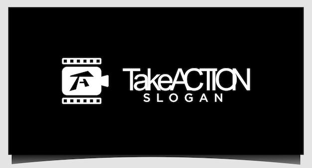 Modelo de emblema de filme de logotipo de cinema