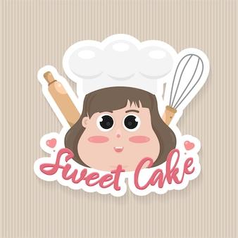 Modelo de emblema de logotipo de bolo de doces