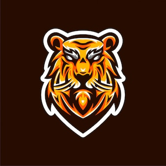 Modelo de emblema de logotipo de esports de tigre