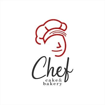Modelo de emblema de pastelaria e padaria com logotipo do chef
