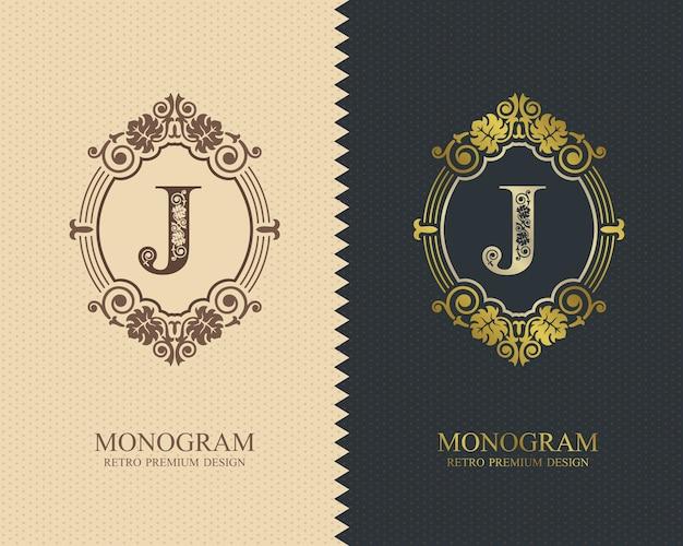 Modelo de emblema j carta, elementos de design do monograma, modelo gracioso caligráfico.