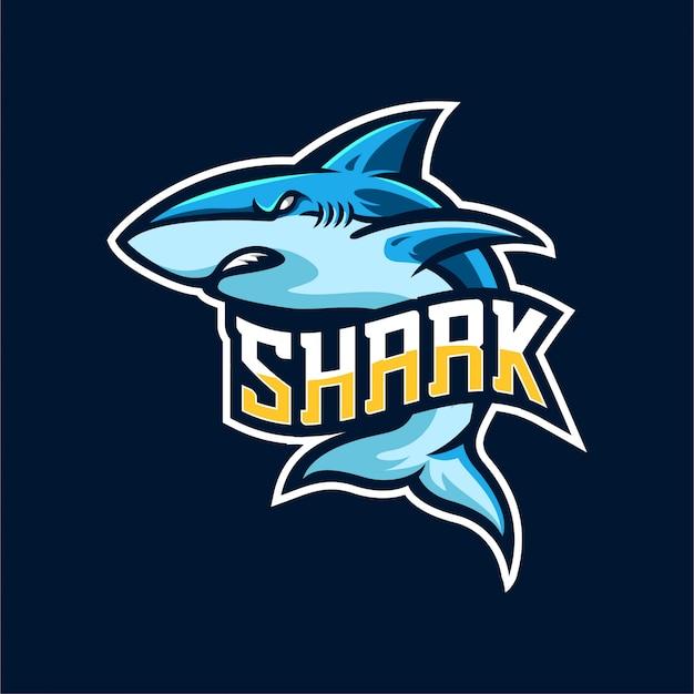 Modelo de emblema logotipo tubarão esports