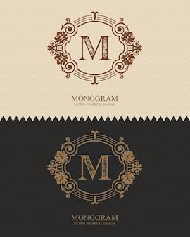 Modelo de emblema m carta, elementos de design do monograma, modelo gracioso caligráfico.