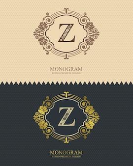 Modelo de emblema z carta, elementos de design do monograma, modelo gracioso caligráfico.