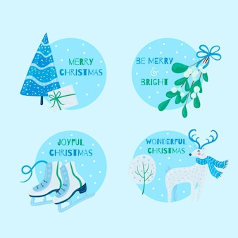 Modelo de emblemas de feliz natal desenhados à mão