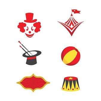 Modelo de emblemas do logotipo do projeto da ilustração do vetor do circo