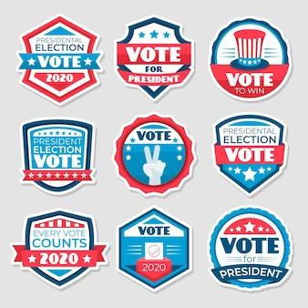 Modelo de emblemas e adesivos de votação
