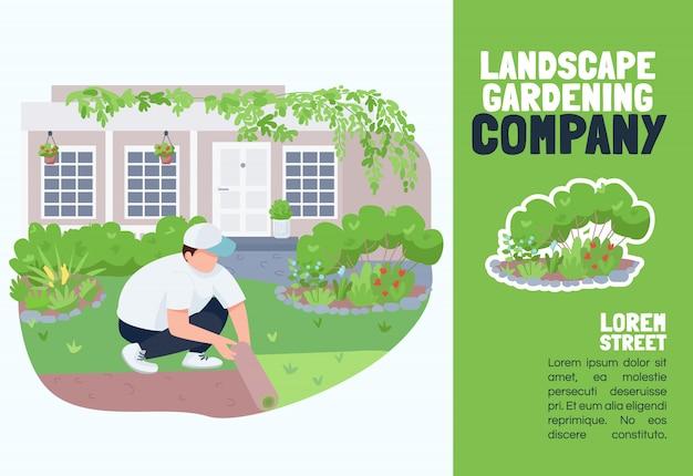 Modelo de empresa de paisagismo. brochura, conceito de cartaz com personagens de desenhos animados. serviço de esverdeamento no pátio, panfleto horizontal de cuidado de gramado, folheto com lugar para texto