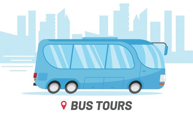 Modelo de empresa de viagens de ônibus. ônibus de equitação na ilustração da cidade