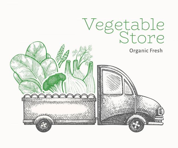 Modelo de entrega de loja de vegetais verdes.