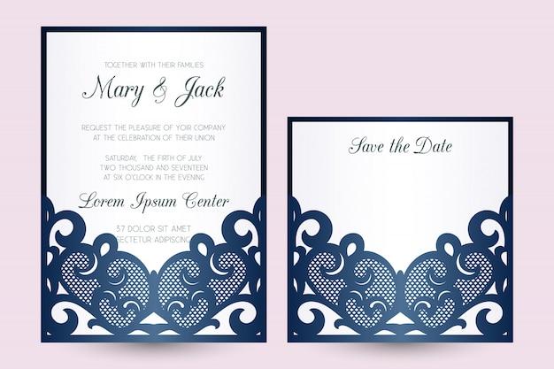 Modelo de envelope de bolso cortado a laser com bolso de renda. convite de casamento ou capa de cartão com ornamento abstrato.