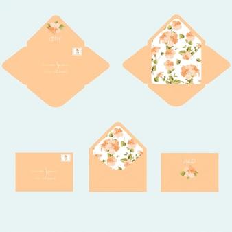 Modelo de envelope de convite de casamento