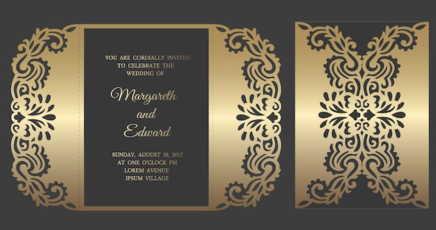 Modelo de envelope de dobra de portão de corte a laser para convites de casamento.