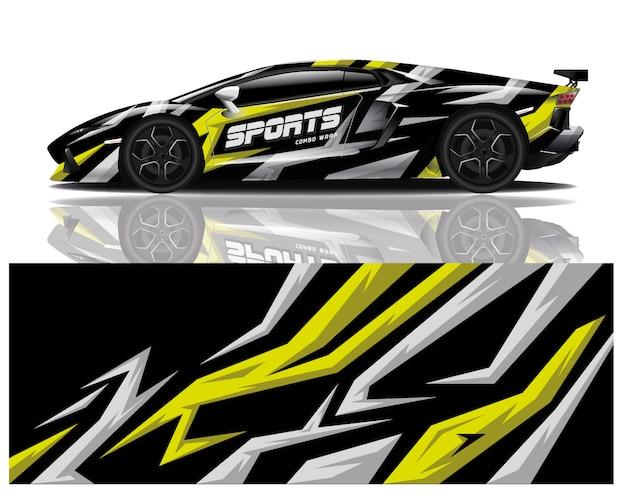 Modelo de envoltório de decalque de carro esporte