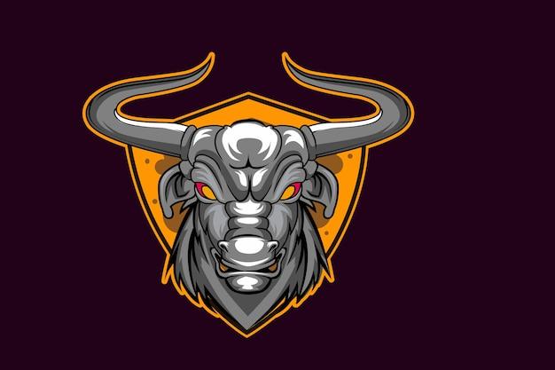 Modelo de equipe de logotipo bull head esport