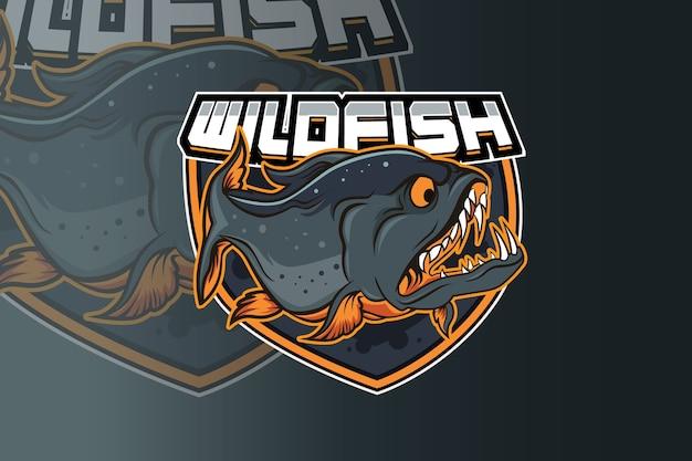 Modelo de equipe de logotipo de esporte e peixes selvagens
