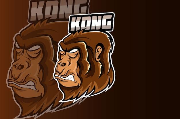 Modelo de equipe do logotipo gorilla head esport