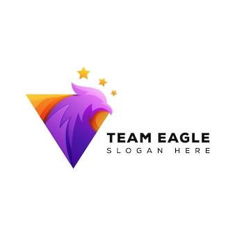 Modelo de equipe do triângulo águia logotipo
