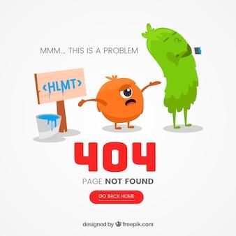 Modelo de erro 404 web com desenhos de monstro