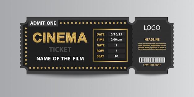 Modelo de esboço de bilhete de admissão de cinema
