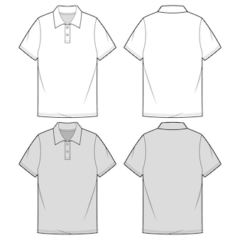 Modelo de esboço plana de moda de camisas de polo