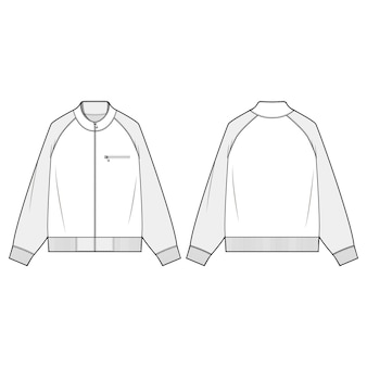 Modelo de esboço plana de moda jaket zip-up