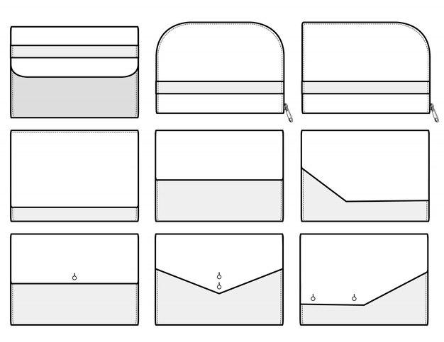 Modelo de esboços plana de ilustração de design de embreagem