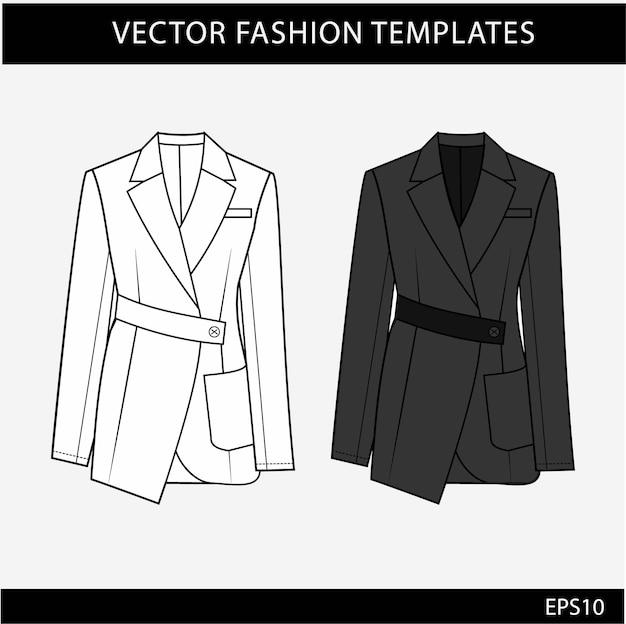 Modelo de esboços planos de moda blazer. blazer feminino