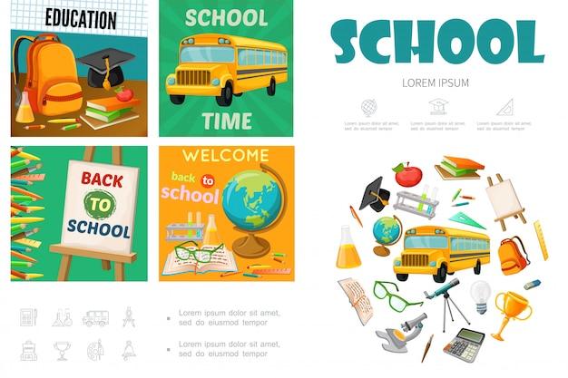 Modelo de escola plana com ônibus saco graduação cap cavalete globo livros apple telescópio troféu calculadora microscópio lápis coloridos bulbo