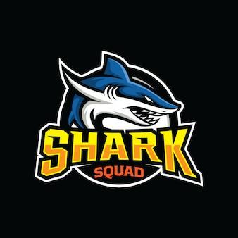 Modelo de escudo de mascote de jogos esportivos de tubarão