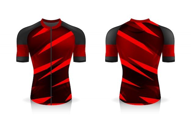 Modelo de especificação cycling jersey. uniforme de gola redonda sport t shirt para vestuário de bicicleta. desenho da ilustração, camadas de trabalho separadas.