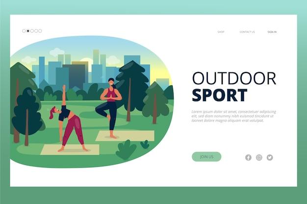 Modelo de esporte ao ar livre da página de destino