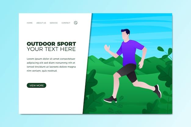 Modelo de esporte ao ar livre de página de destino de design plano