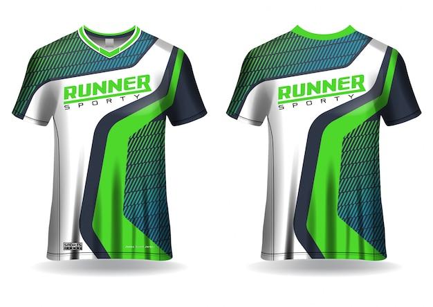 Modelo de esporte de t-shirt para camisa de corrida, esporte uniforme na vista frontal e traseira