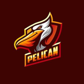 Modelo de esporte incrível logotipo pelicano
