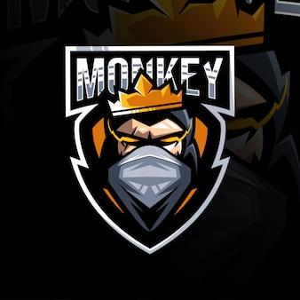 Modelo de esporte logotipo rei mascote macaco