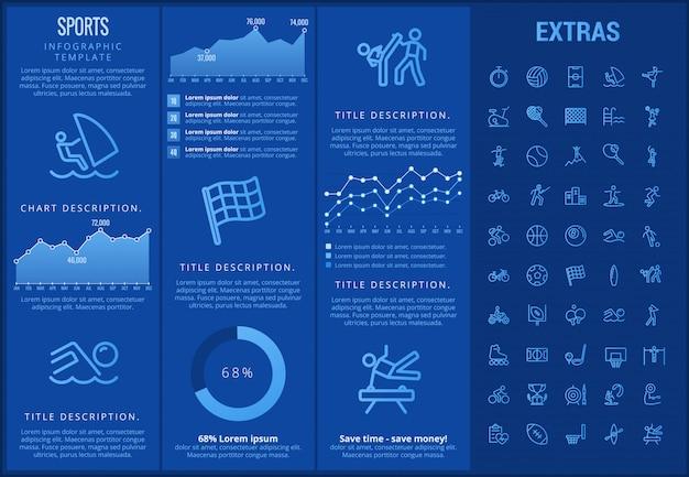 Modelo de esportes infográfico, elementos e ícones
