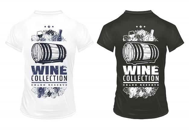 Modelo de estampas de vinho vintage em camisetas com garrafas de inscrição taças de vinho barril de bebida alcoólica cachos de uva saca-rolhas isolado