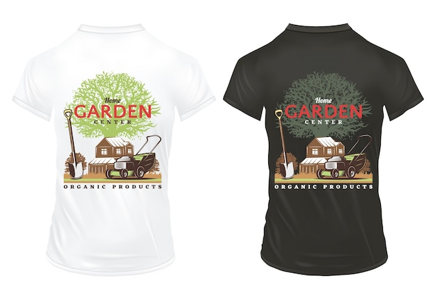 Modelo de estampas vintage de jardinagem em camisetas